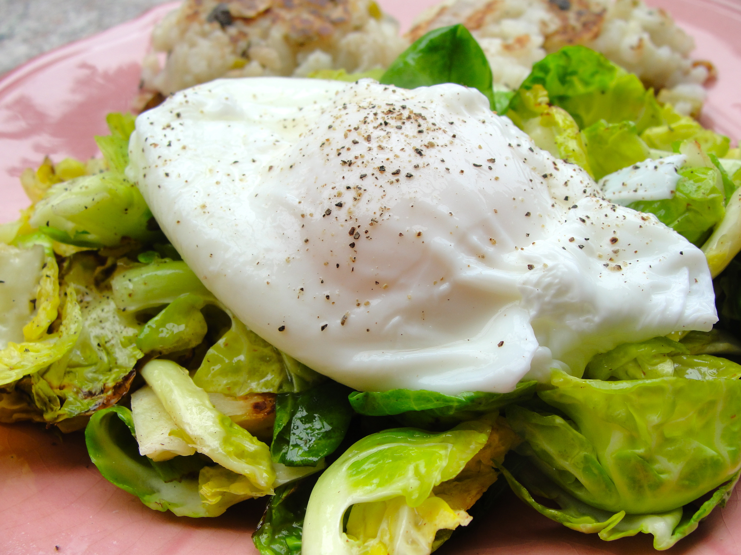 Low Sodium Brussel Sprout Salad with Poached Egg Dressing